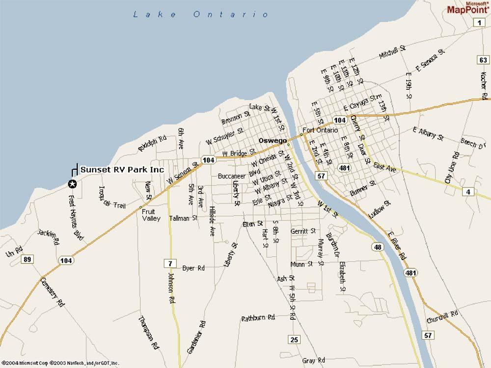 Map Of New York Oswego.Oswego Ny Rv Park Oswego Ny Campgrounds Sunset Rv Park Cabins